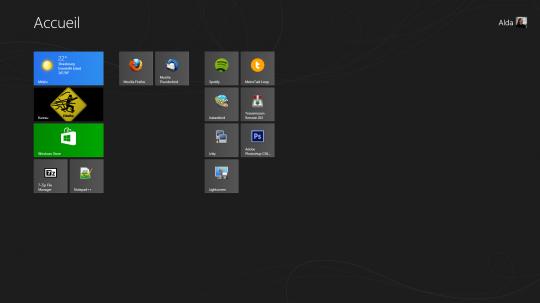 Accueil Interface Windows 8