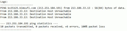 Host Unreachable