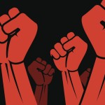 Clenched fist held in protest vector illustration. Panoramic